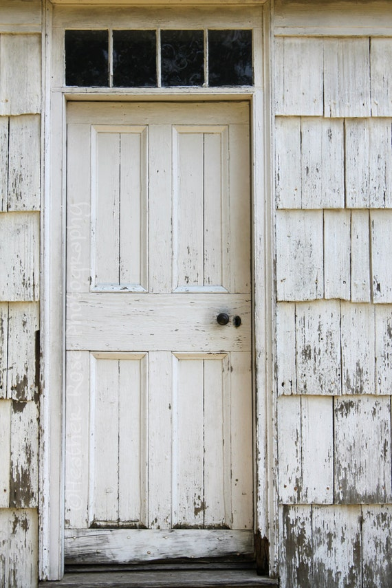 Items similar to Old White Wooden Door 8inx12in Photograph Old