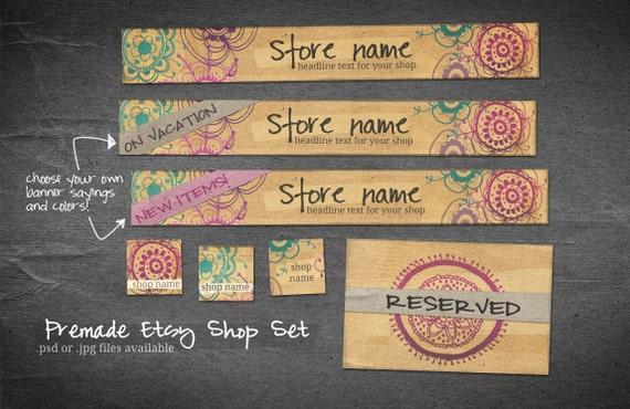 10 Piece  Etsy Shop Banner Set - Kraft Paper Doodles