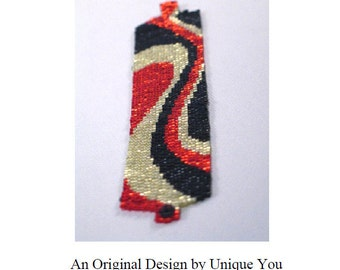 Instant Download Peyote Stitch Beading Pattern Bracelet - 2-Drop Seed Bead Cuff Retro Swirls PDF (Sale - Buy 2 Patterns, Get 3rd at NO COST)