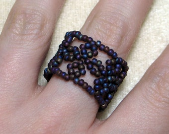 Instant Download Beading Pattern Seed Beaded Ring Lace Band Toho Step by Step Tutorial with Photos - PDF