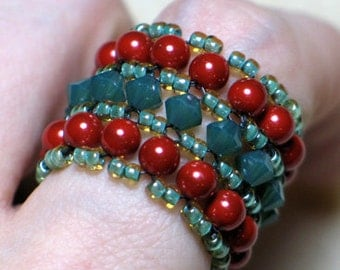 Instant Download Beading Pattern Tutorial Seed Beaded Band Ring Swarovski Crystal Pearl Bead Instructions Step by Step with Photos - PDF