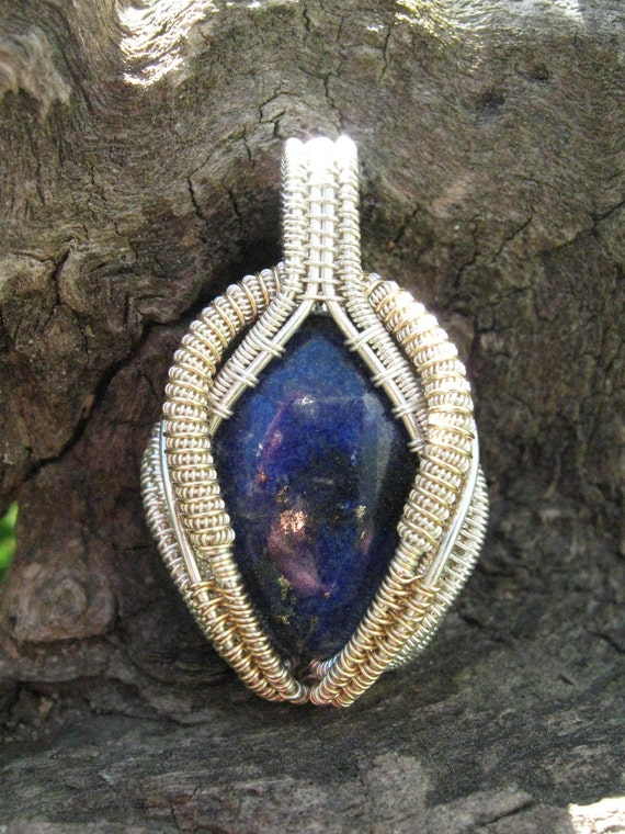 Wire Wrapped Lapis Lazuli Pendant in Silver and Gold