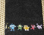 Robots Playing Black Terry Cloth Hand Towel- DISCOUNTED for FLAW
