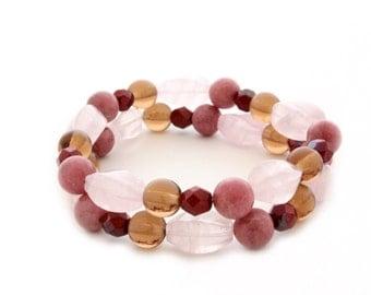 Beaded stretch bracelet - set of 2
