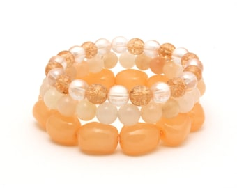 Peach bracelet - set of 3