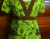 Green and Chocolate Stylized Floral Scrub Shirt