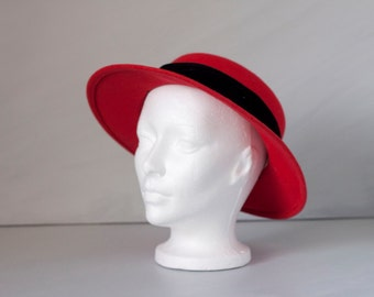Vintage red and black wide brim felt hat