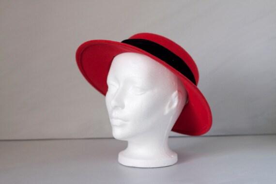 Vintage red and black wide brim felt hat