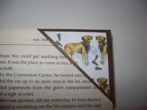 Quirky Border Terrier Dog Corner Page Bookmark