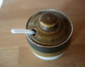 Hand Made Ceramic Mustard Sauce Pot 1970s Rustic Brown and Oatmeal