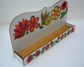 Reserved for Marlene - Gorgeous Retro Spice  Herb Rack Funky Flowers Red and Orange 1970s Never Used
