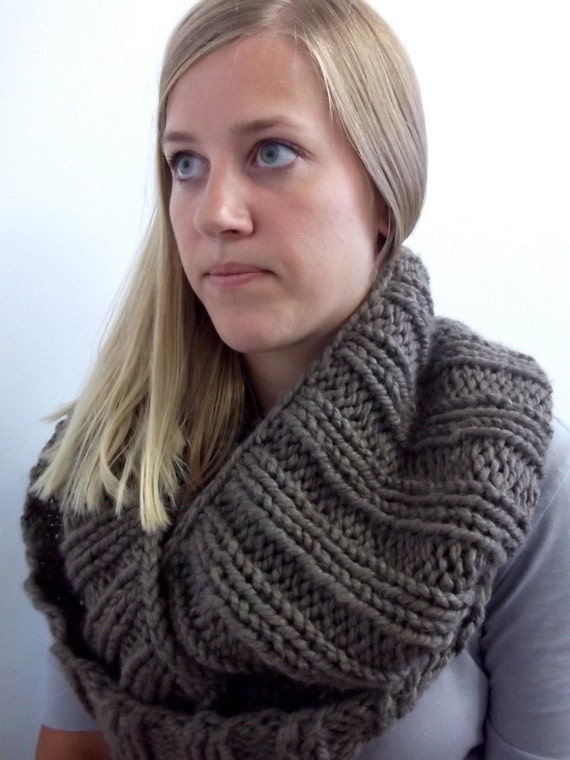 Hand knit taupe soft chunky wool blend infinity by LouderSpace