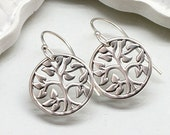 Silver Tree of Life Earrings, Sterling Silver
