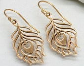 Gold Peacock Feather Earrings, Large Bronze