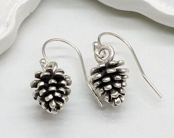 Sterling Silver Pinecone Earrings, Pine Cone, Nature, Tree,Gift, Christmas Gift, Holiday Necklace,Holiday Gift