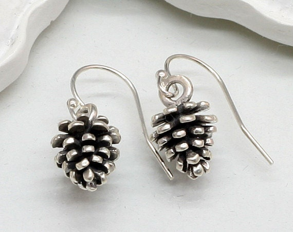 Items similar to sterling silver pinecone earrings pine for Sterling silver christmas jewelry