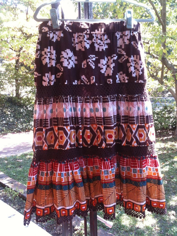 SALE!! Navajo Pattern Vintage Skirt size L native american clothing fall fashion southwestern bohemian aztec