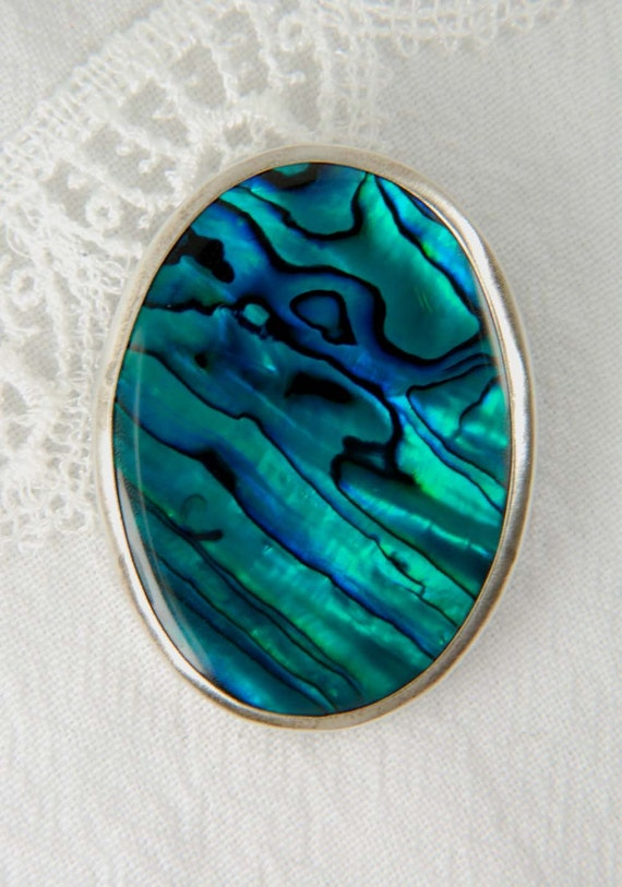 Sterling Silver Designer Brooch with Paua Shell, fall jewelry, fall gift ideas, romantic gifts, gifts for her