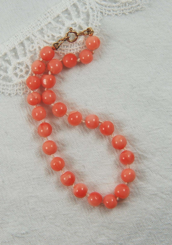 RESERVED LISTING for Elaine, Two Coral Hand-knotted Bead Bracelets with 14K Gold Clasps