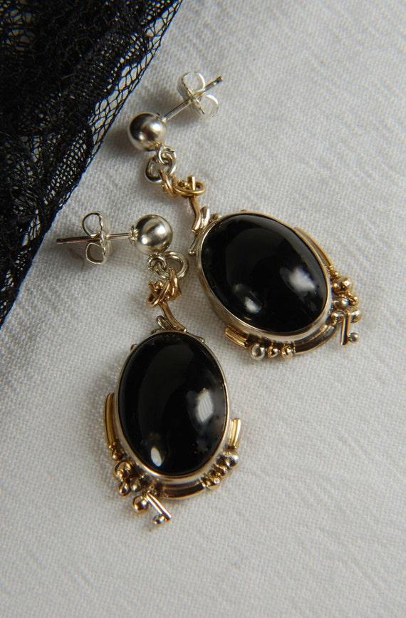 Statement Earrings, 14K Gold Earrings, Sterling Silver Earrings, Post Earrings, Black Onyx Earrings, statement earrings, statement jewelry
