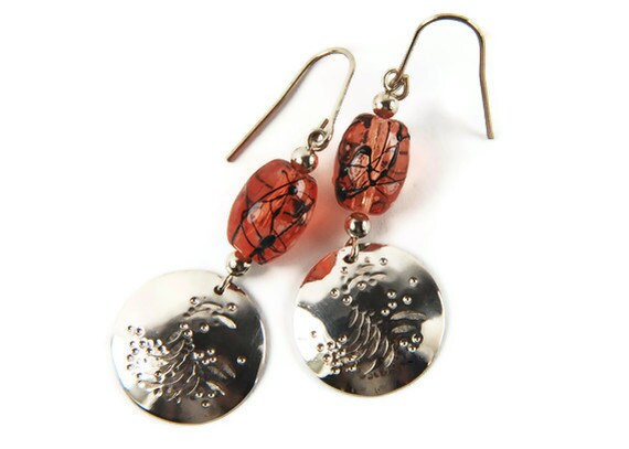 Hammered Sterling Silver Artisan Earrings with Orange Lampwork Beads, for her, fall fashion trends, fall jewelry, back to school, romance