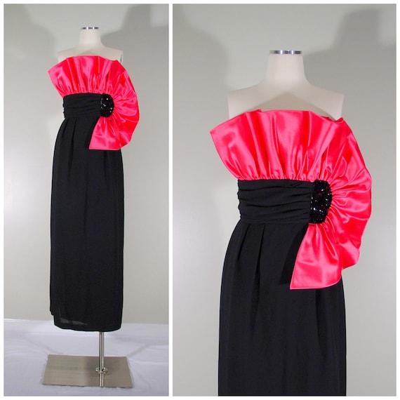 1980s prom dress / hot pink and black / black tie dress