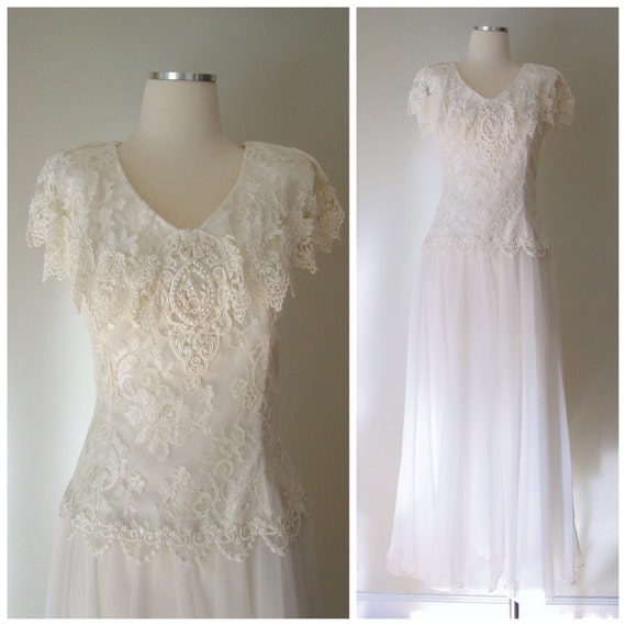 vintage wedding dress / lace and chiffon wedding gown