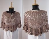 brown light brown ecru wool crochet poncho shawl