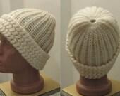 cream ecru wool mohair angora crochet beanie beret hat