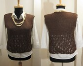 hand knitted brown metallic cotton blend sleeveless vest sweater top tank