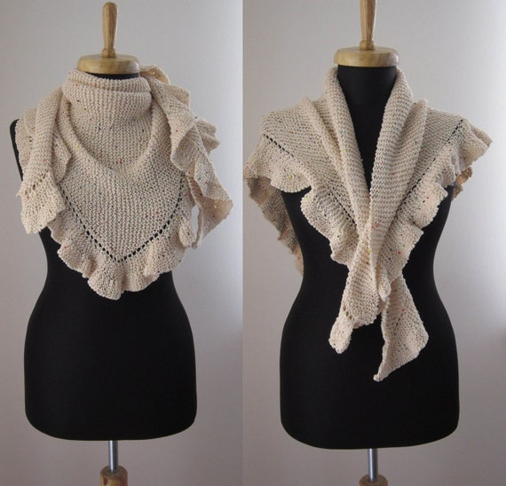 hand knitted light pink ecru cream cotton shawl scarf stole with beads in detail