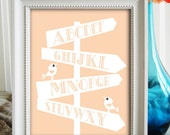 EDUCATIONAL Shabby Chic Art Print. 8x10. NEW BABY Birth Announcement 8x10 Art Print. Ideal for Nursery, Bedroom, Playrppm or Gift.