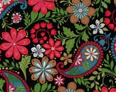 Paisley Fabric, Floral Fabric, Serafina by Blank Quilting, Black Fabric, 1 yard Fabric