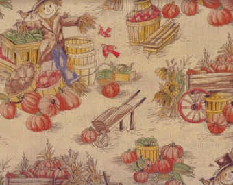 Scarecrow Fabric, Fall Fabric, Harvest Toile, Scarecrow Fall Fabric, 00405