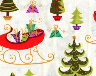 Christmas, Holiday Cheer by VIP Exclusive, Christmas Fabric, Christmas Tree Fabric, Sleigh Fabric, 00812