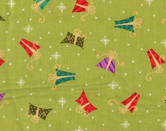 Christmas, Holiday Cheer by VIP Exclusive, Christmas Fabric, Present Fabric, Holiday Fabric, Lime Green Fabric, Holiday Cheer, 00811