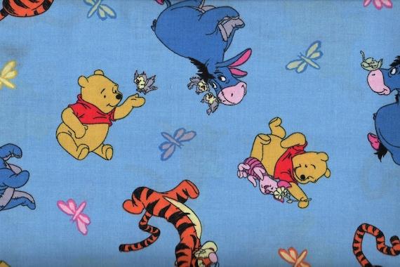 Fat Quarter, Pooh Fabric, Pooh Bear Fabric, Eyore Fabric, Piglet Fabric, Tigger Fabric, Blue Fabric