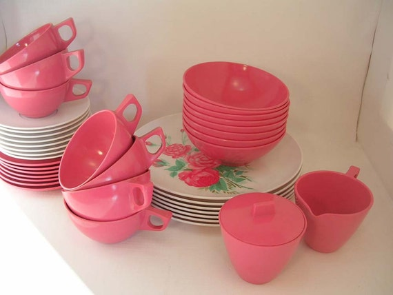 Vintage Melmac Allied Chemical Rose & White Dishes--39 Pieces