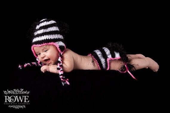 Zebra hat and diaper cover- Newborn-Adult (hat)   - photography prop, zebra hat, diaper cover, animal hat, newborn set, baby hat
