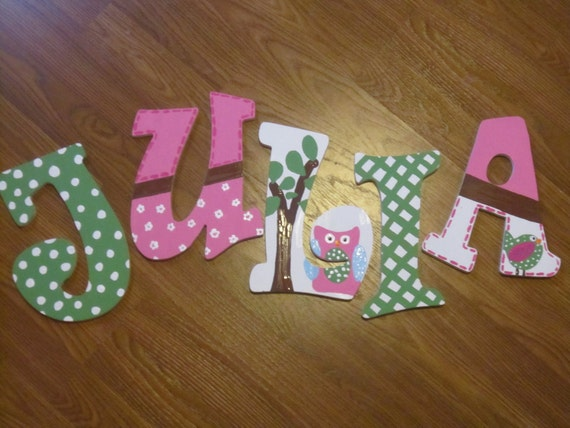 Personalized Wall Decor Letters : Items similar to personalized handpainted wall letters