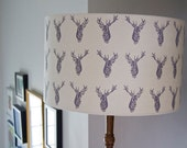 Large Stags Handmade Lampshade - Lavender/Cream