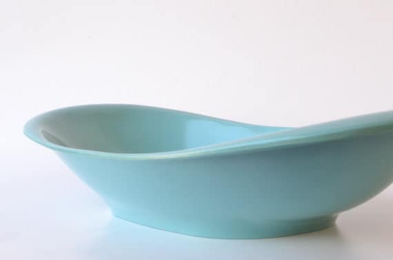 Vintage melamine dish in electric turquoise