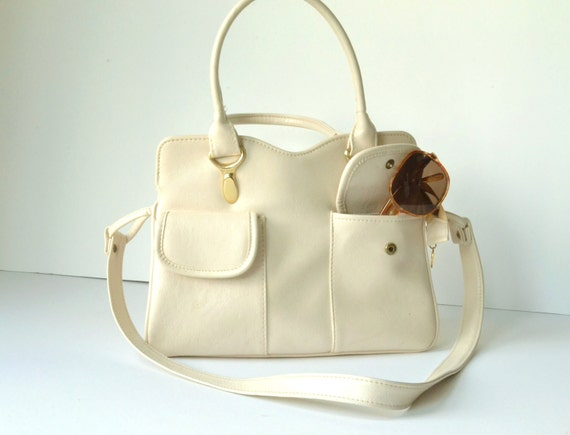 END OF SUMMER 15% off - Retro summer purse in polished off-white