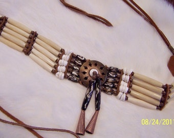 Shells, Bone & Copper and Centerpiece Choker Necklace