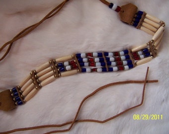 Veterans  Patriotic  Glass Tile Bead Choker Necklace - Red White and Blue Tile Bead and Bone Choker