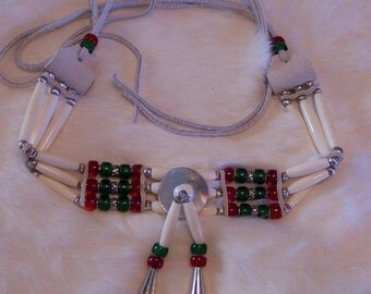 Red and Green Glass Crow Bead and Bone Choker Necklace