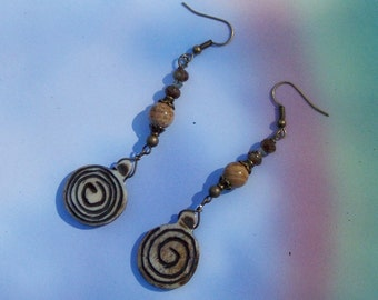 Scene Jasper Czech Glass and Bone Earrings by PrimitiveDesignsTX