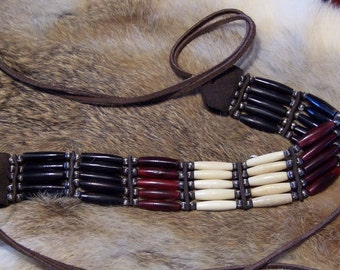 Red and Black Horn and Bone Five Strand Choker by PrimitiveDesignsTX