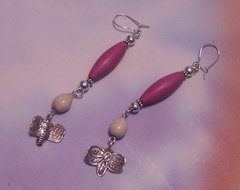 Dragonfly and Jobs Tears Earrings - Fuchsia and Silver Butterfly Earrings with Jobs Tears Seeds