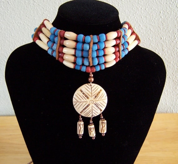 Three Owls Carved Bone with Red and Blue Glass Bead Choker by PrimitiveDesignsTX